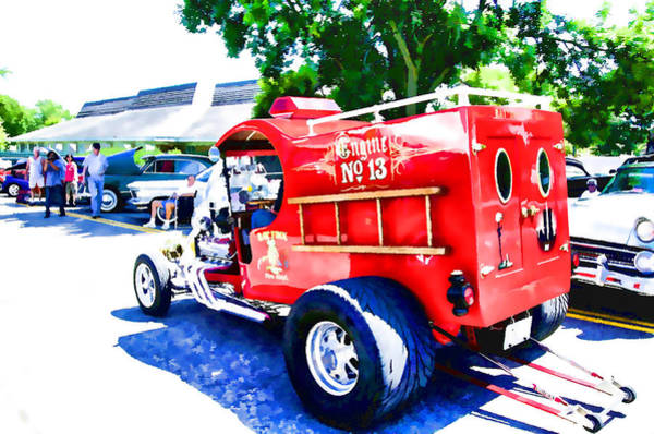 Vintage Fire Truck Painting - Fire Truck Engine No.13  2 by Jeelan Clark