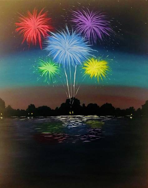 Wall Art - Painting - Fire Works In The Evening by Willy Proctor