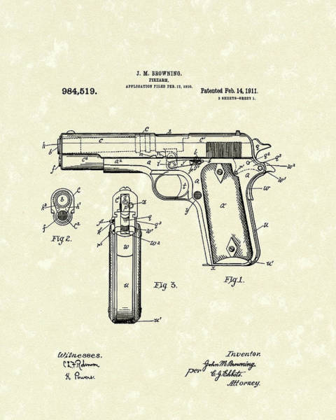 Drawing - Firearm 1911 Patent Art by Prior Art Design