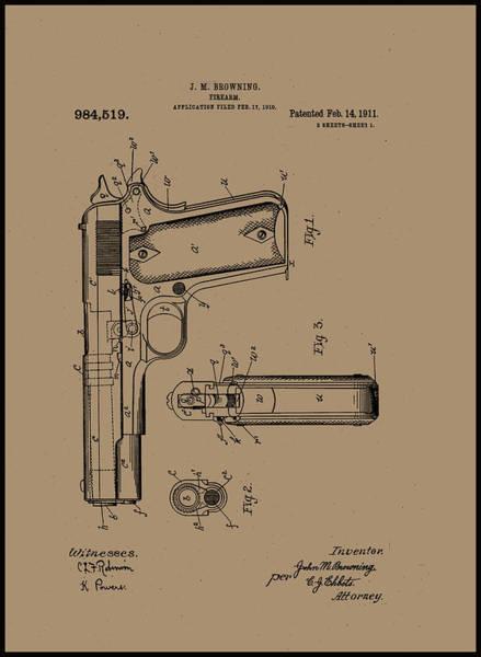 Painting - Firearm Handgun by John Browning