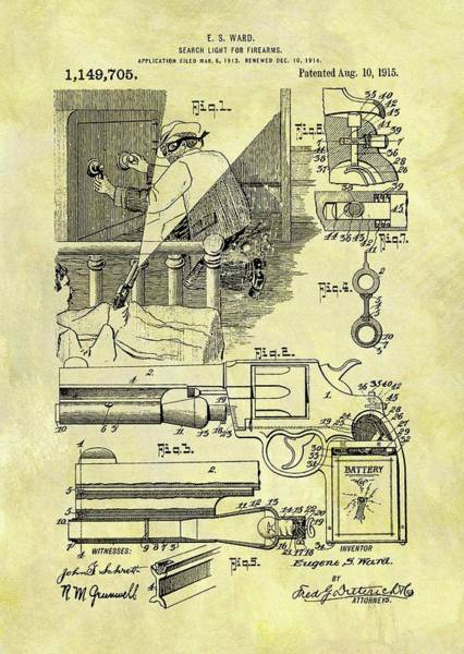 Drawing - Firearm Search Light Patent by Dan Sproul