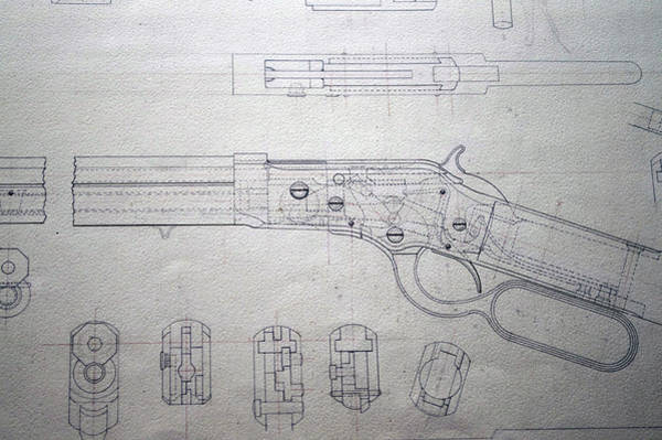 Wall Art - Photograph - Firearms Lever Action Rifle Drawing by Thomas Woolworth