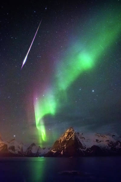 Photograph - Fireball In The Aurora by Alex Conu