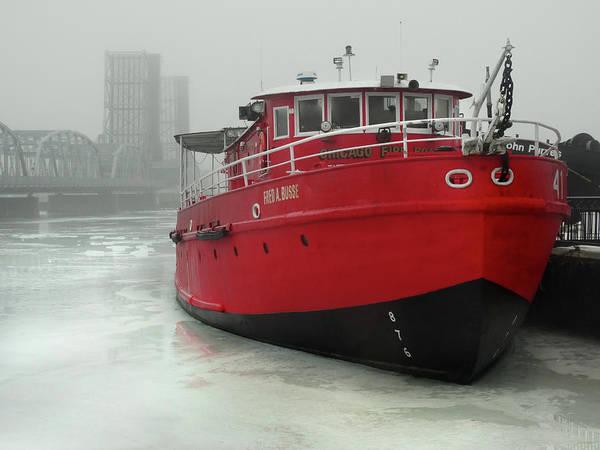 Fireboat Wall Art - Photograph - Fireboat In Winter Fog by David T Wilkinson