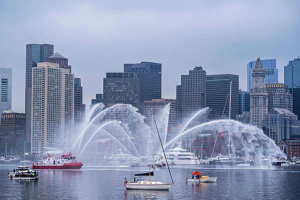 Fireboat Wall Art - Photograph - Fireboats On Boston Harbor Tall Ship Parade Boston Ma by Toby McGuire