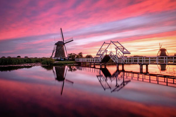 Photograph - Fired Sky Kinderdijk by Mario Visser