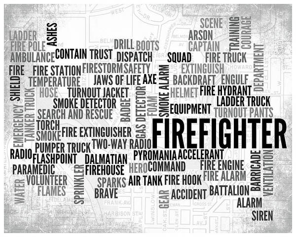 Wall Art - Digital Art - Firefighter 1 Word Typography by Melissa Smith