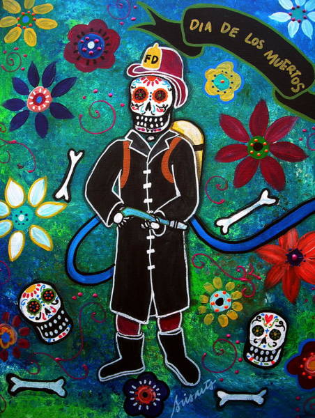Wall Art - Painting - Firefighter Day Of The Dead by Pristine Cartera Turkus