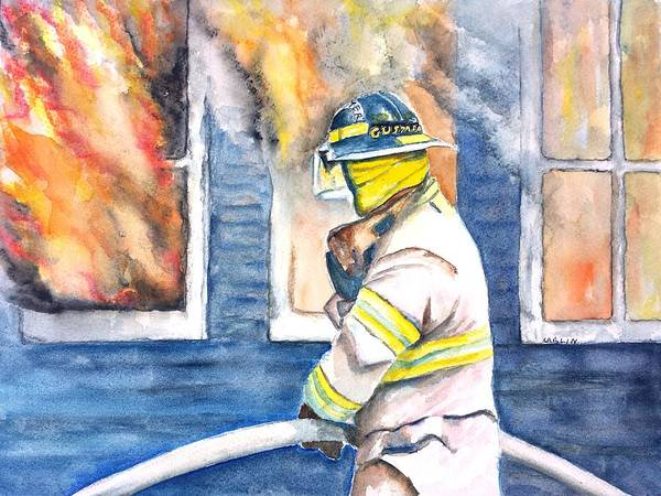 Inferno Painting - Firefighter Hero House Fire by Carlin Blahnik CarlinArtWatercolor