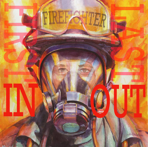 Wall Art - Painting - Firefighter by Steve Henderson