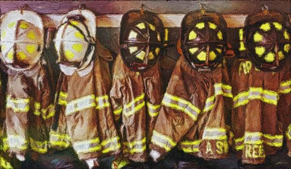 Painting - Firefighters Uniforms by Joan Reese