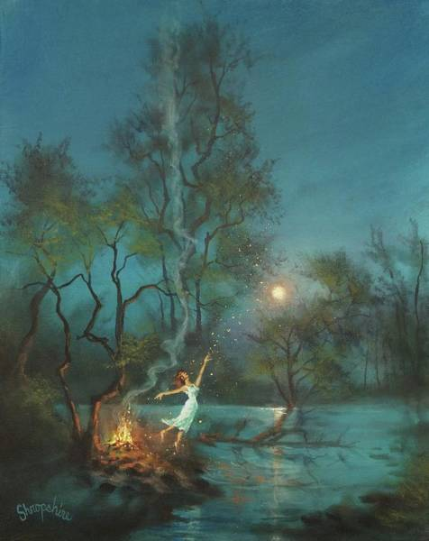 Wall Art - Painting - Fireflies And Moonlight by Tom Shropshire