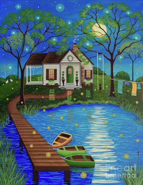Firefly Painting - Firefly Cottage by Mary Charles