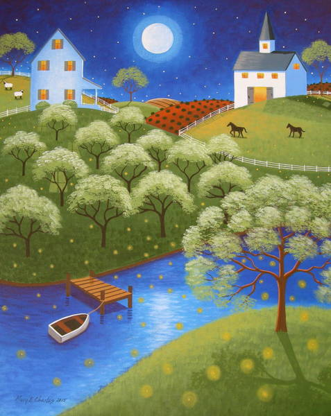 Firefly Painting - Firefly Lake by Mary Charles