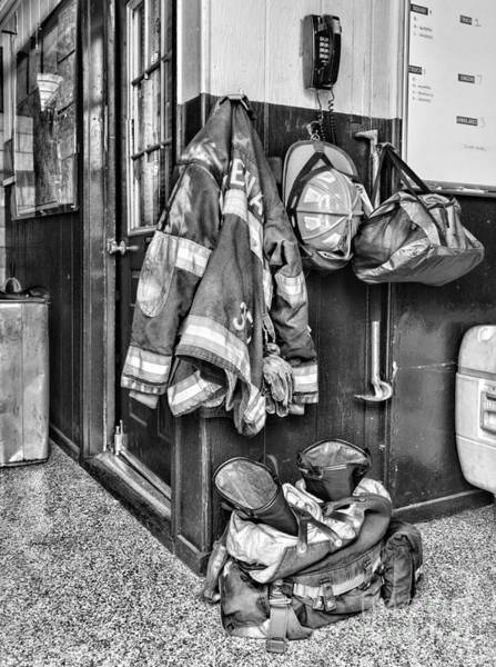 Fire Department Photograph - Fireman - Always Ready - Black And White by Paul Ward