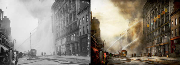 Wall Art - Photograph - Fireman - Brooklyn Ny - Surpirse 1909 - Side By Side by Mike Savad