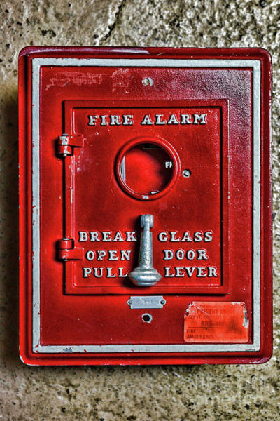 Wall Art - Photograph - Fireman-fire Alarm Box Break Glass by Paul Ward