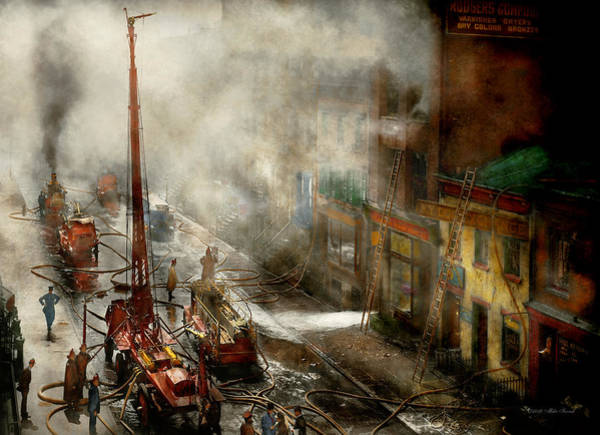 Fdny Photograph - Fireman - New York Ny - Big Stink Over Ink 1915 by Mike Savad