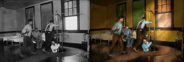 Wall Art - Photograph - Fireman - The Firebell Rings 1922 - Side By Side by Mike Savad