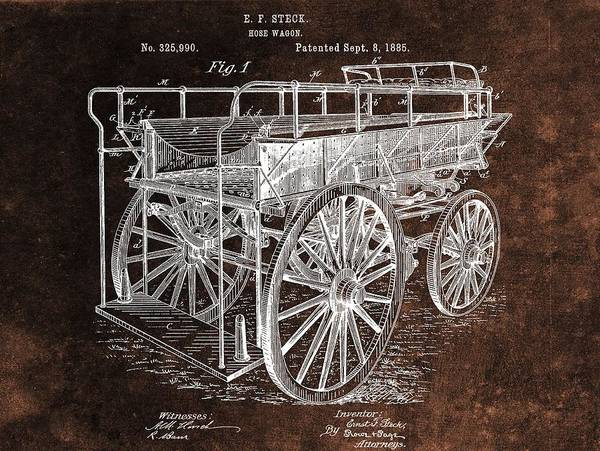 Wall Art - Drawing - Fireman's Wagon Patent by Dan Sproul