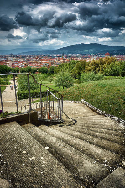 Photograph - Medieval Cityscape And Montainous Landscape From The Boboli Gardens In Florence, Italy by Fine Art Photography Prints By Eduardo Accorinti