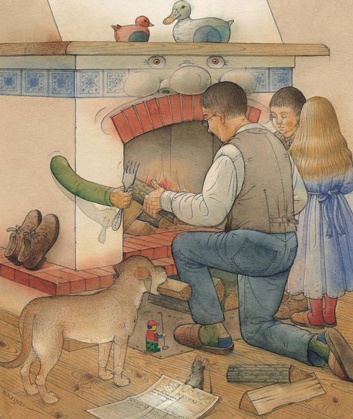 Fireplace Painting - Fireplace by Kestutis Kasparavicius