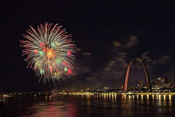 Photograph - Fireworks At The Arch by Rau Imaging