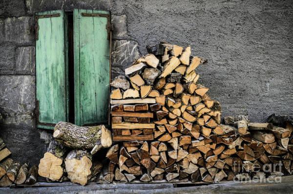 Wall Art - Photograph - Firewood Stack Against Wall by Jason Knott