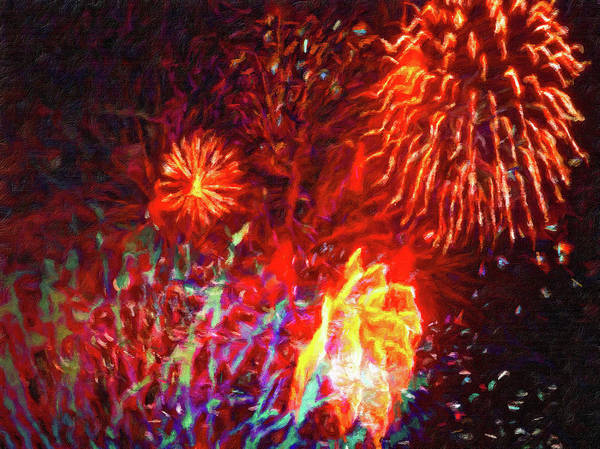 Painting - Fireworks 17 by Joan Reese