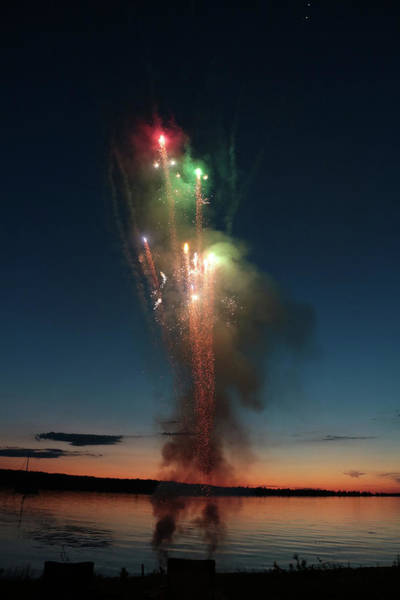 Photograph - Fireworks After Sunset Two by Kelly Hazel