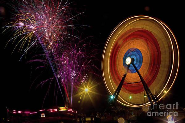 Wall Art - Photograph - Fireworks And Ferris Wheel by Rick Mann