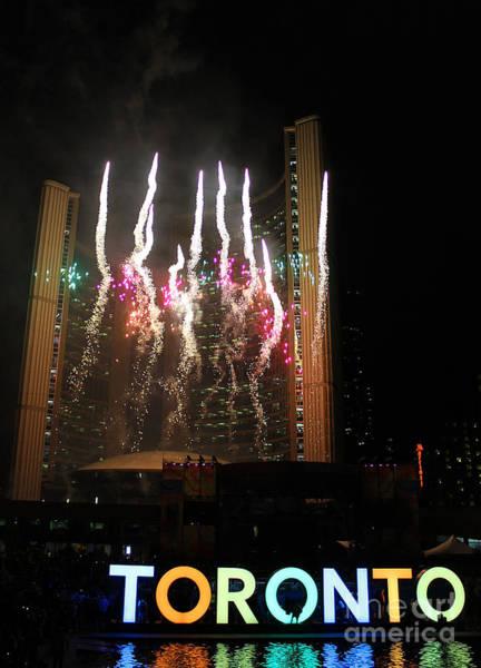 Toronto Blue Jays Photograph - Fireworks At Toronto City Hall by Nina Silver