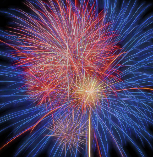 Photograph - Fireworks Celebration Glow Square by Terry DeLuco
