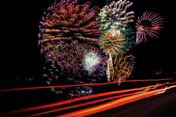 Fireworks Show Wall Art - Photograph - Fireworks Finale by Toni Hopper