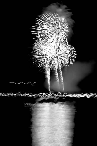 Photograph - Fireworks In Black And White by Kay Brewer