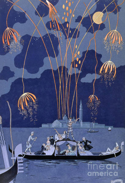 Fireworks Display Wall Art - Painting - Fireworks In Venice by Georges Barbier