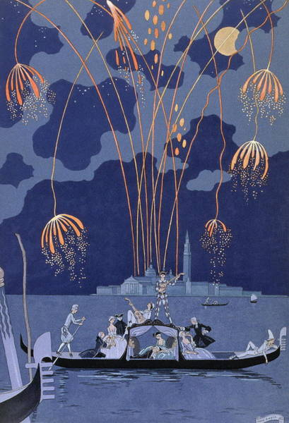 Fashion Plate Painting - Fireworks In Venice, Illustration For Fetes Galantes by Georges Barbier