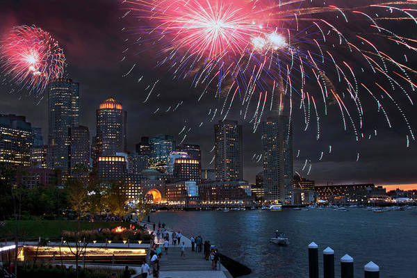 Photograph - Fireworks Over Boston Harbor by Joann Vitali