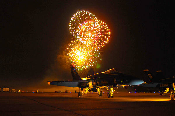 Helicopter Painting - Fireworks Over Fa-18 Hornet Us Navy by Celestial Images