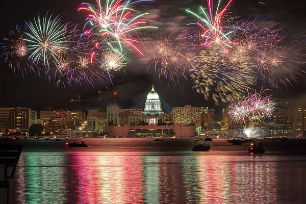 Lake Monona Photograph - Fireworks Over Madison by Gregory Payne