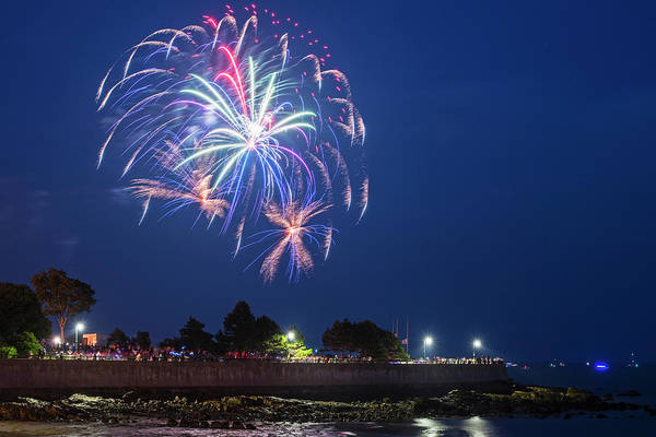 Photograph - Fireworks Over Red Rock Park In Lynn Ma by Toby McGuire