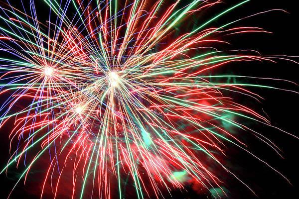Fireworks Show Wall Art - Photograph - Fireworks Over Redbud Park by Toni Hopper