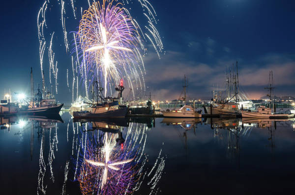 Photograph - Fireworks Over The Bay by Margaret Pitcher