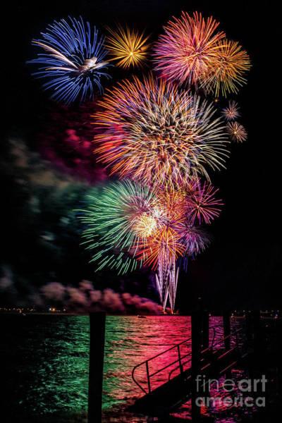 Photograph - Fireworks Over The Bay by Nick Zelinsky