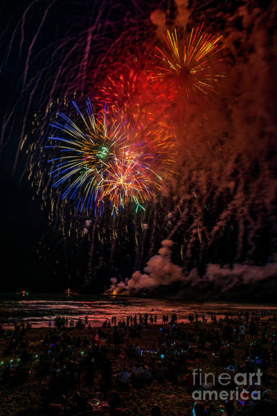 Photograph - Fireworks Over The Beach by Nick Zelinsky