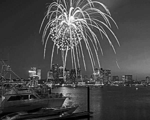 Photograph - Fireworks Over The Boston Skyline Boston Harbor Illumination Streaming Down Black And White by Toby McGuire