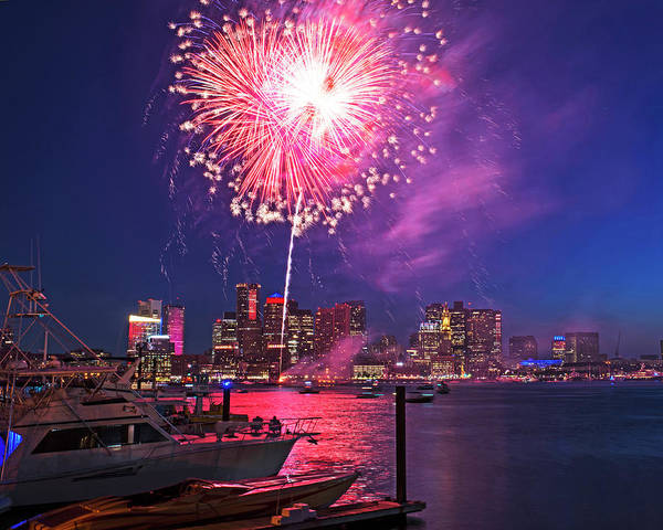 Photograph - Fireworks Over The Boston Skyline Boston Harbor Illumination by Toby McGuire