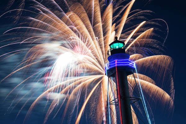 Photograph - Fireworks Over The Marblehead Light Tower Marblehead Ma Fireworks by Toby McGuire