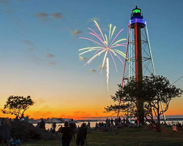 Photograph - Fireworks Over The Marblehead Light Tower Marblehead Ma Sunset Glow by Toby McGuire