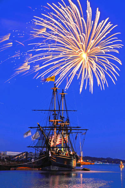 Photograph - Fireworks Over The Salem Friendship Salem Ma Fourth Of July by Toby McGuire